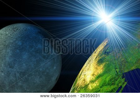 Sun earth and moon