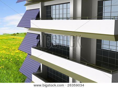 photo voltaic module on house wall