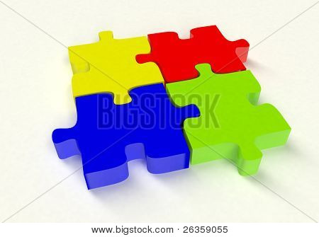 3D color puzzle on white