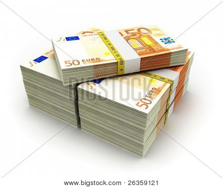 Euro paper money pile on white