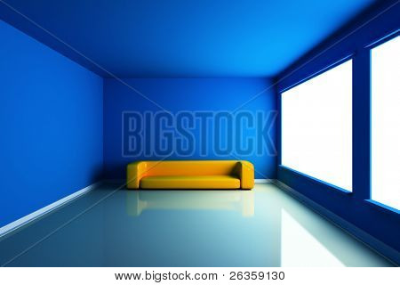 Blue  empty room with yellow  couch