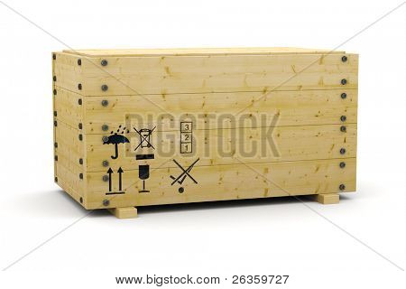 3D wooden box container on white