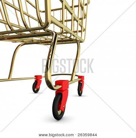 Gold leer Shoppingcart, isolated on white