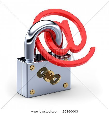 'at' symbol  in padlock 3d. Internet E-mail Safety concept