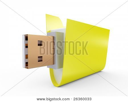 Yellow Folder with usb connect on white