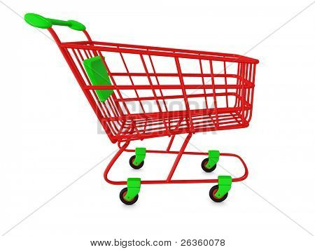 Rote leere Shoppingcart, isolated on white