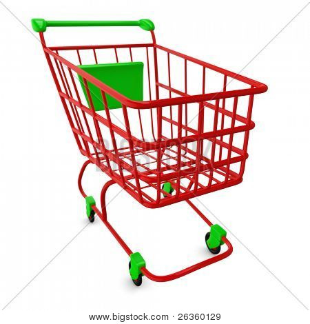 Red empty Shoppingcart isolated on white