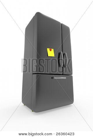 Yellow paper notice on refrigerator door