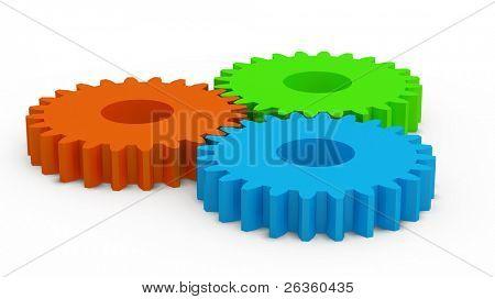 3D color plastic gears, motion concept