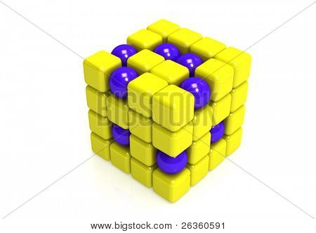 Blue Spheres and yellow  cubes