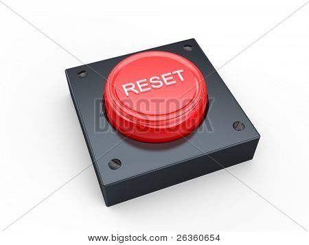3D Red reset button on white