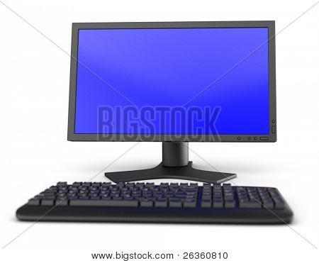 PC computer workspace monitor and keyboard
