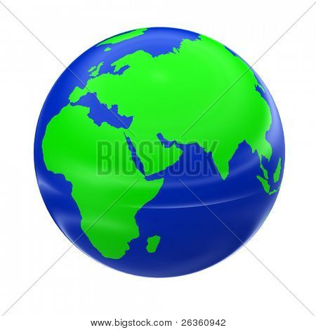 3d globe model of earth with green continent