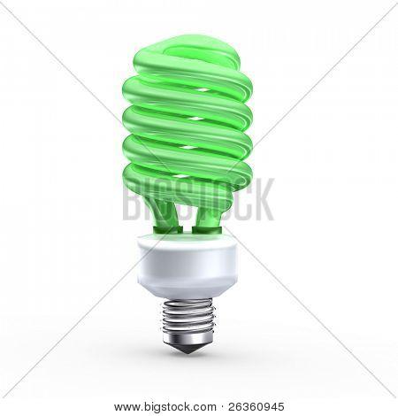 Fluorescerende lamp op groene achtergrond opslaan