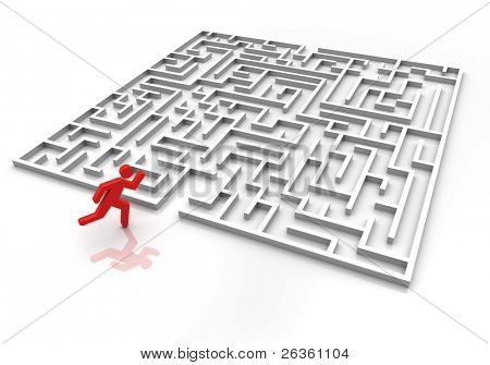 3d labyrinth with run person