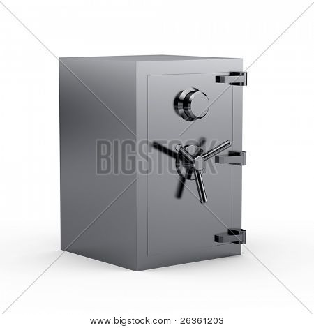 Black metal safe box 3d