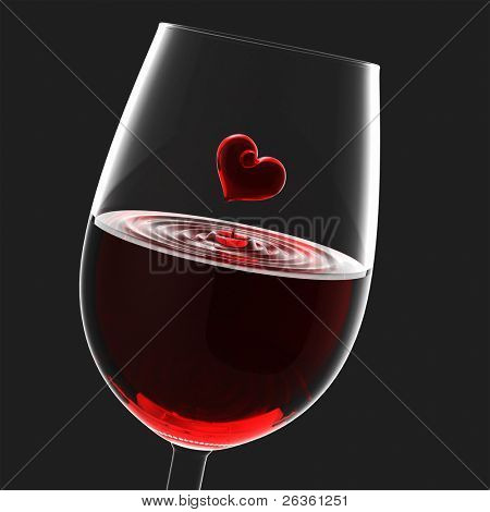 Heart symbol in wineglass