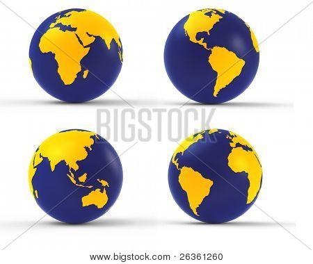 3d earth globe set on white