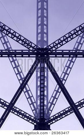 acero, construcción de estructura en azul