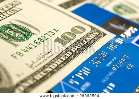 credit card and dollar close-up