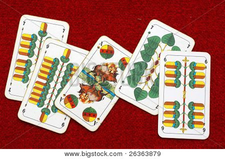 tarot cards on red background