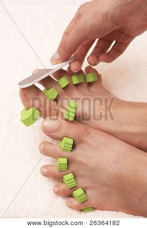 Polieren Nägel Pediküre-Prozess