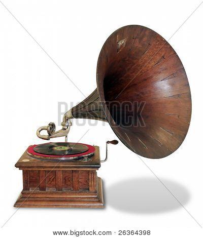 gramófono Vintage aislado en blanco