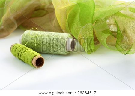 greenish silk and matching threads