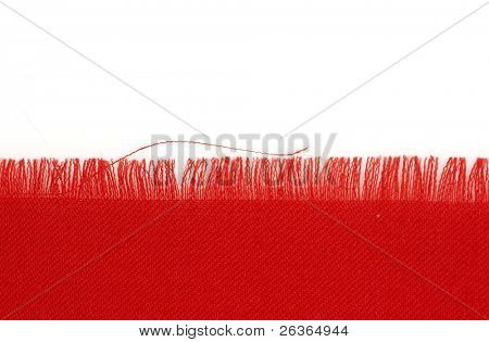 bright red cloth with unfinished edging