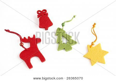 colorful Christmas decorations, reindeer, red bell, fir tree and star