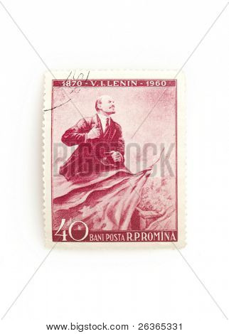 portrait of Lenin on an old stamp