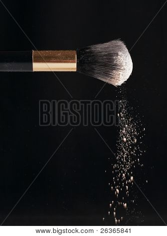 thick black brush and loose powder particles scattered around
