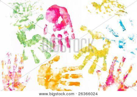 children's hands paint prints background