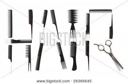 Frisur Konzept, Kämme zum Schreiben von Haar verwendet