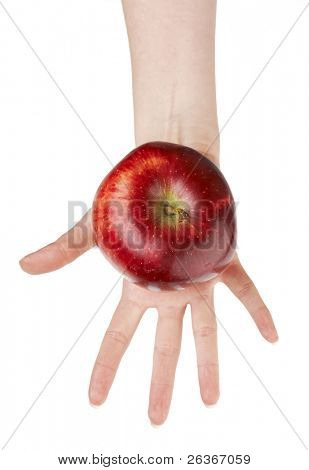 woman offering a red apple isolated on white background; 'an apple a day' concept