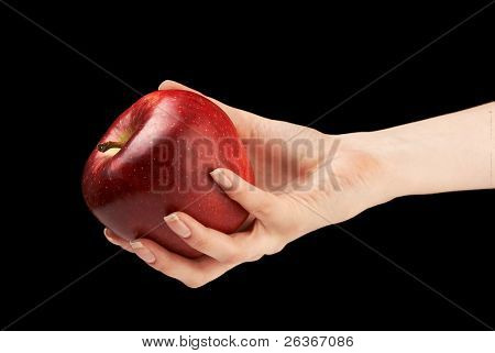 woman offering a red apple isolated on white background; Eve concept; ' an apple a day' concept