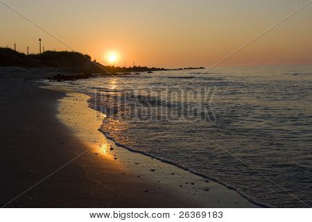 beautiful sunrise over sea shore