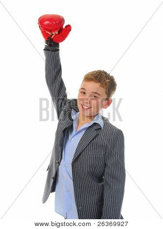 Little businessman with boxing gloves