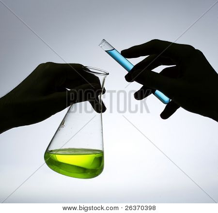 medical experiment; Erlenmeyer flash and test tube in a research laboratory