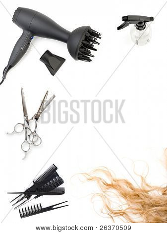 hair salon frame: set of combs, scissors and hairdryer, hairstyle accessories