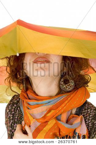 smiling woman hidden under her umbrella