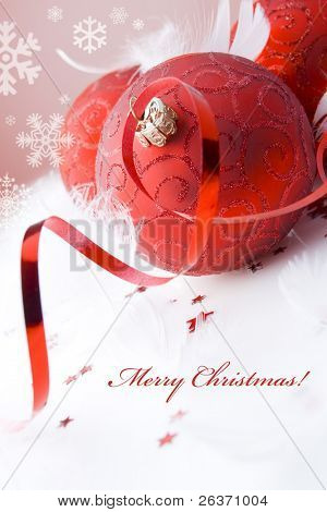 Holiday background; red globes, stars, ribbon and snowflakes