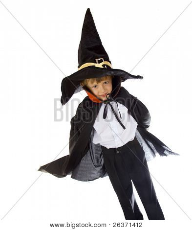 portrait of a boy in wizard costume