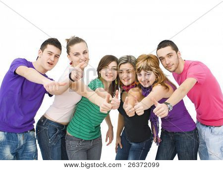 happy group of teenagers cheering