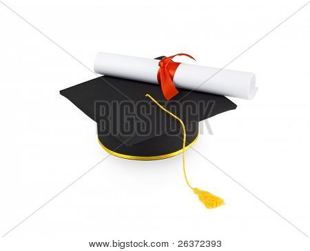 graduation cap and diploma with red ribbon isolated on white