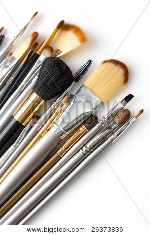 cosmetic brushes isolated on white
