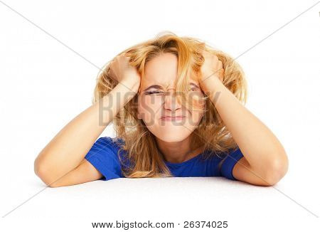 Frustrated angry woman pulling her hair