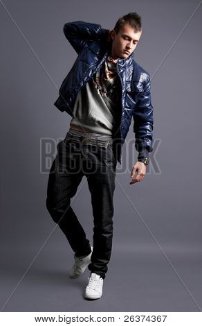handsome young male model posing in studio