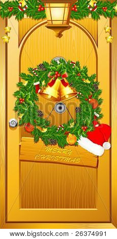 illustration of wreath with santa cap on door welcoming christmas