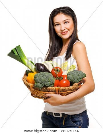 Beautiful woman and basket with vegetables